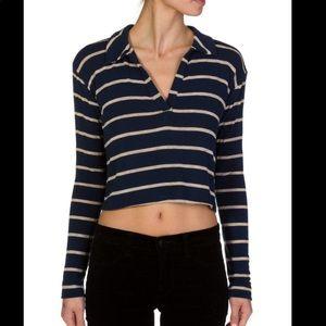 LNA Crop Striped Polo Shirt
